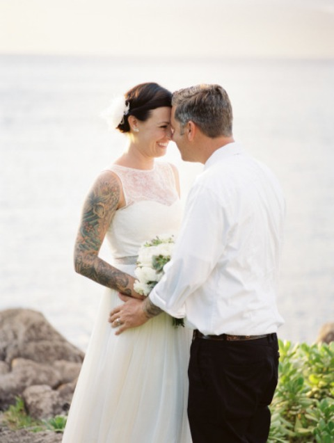 Black, Yellow And White Maui Destination Wedding