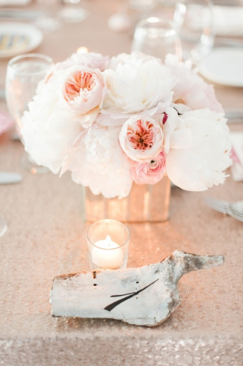 Blush And Gold Seaside Wedding With Coral Touches