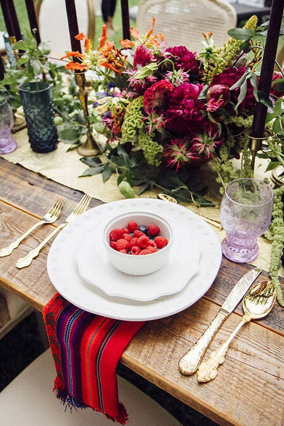 Picture Of A Boho Tablescape With A Gold Table Runner