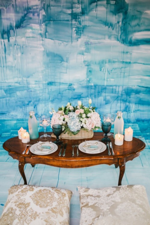 Bold Blue Watercolor Wedding Inspiration With A Dreamy Boho Vibe