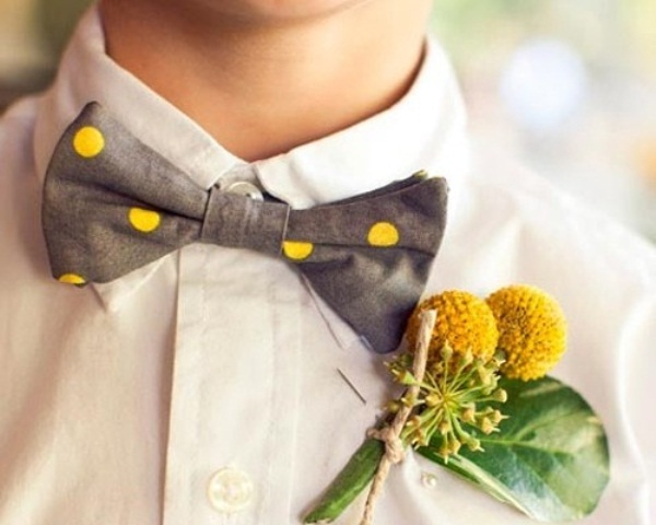 a playful grey and yellow polka dot bow tie with a billy ball boutonniere will spruce up any neutral outfit