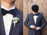 a grey suit and a black polka dot bow tie for a playful and elegant groom's outfit