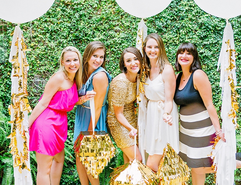 Picture Of bright and cheerful champagne bridal brunch inspiration  10