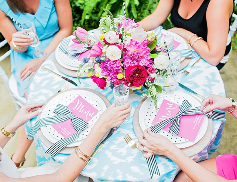 Picture Of bright and cheerful champagne bridal brunch inspiration  4