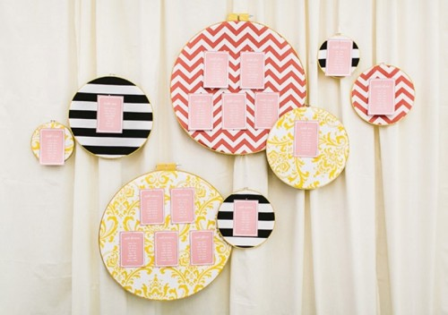 Bright And Easy DIY Emboidery Hoop Escort Card Display