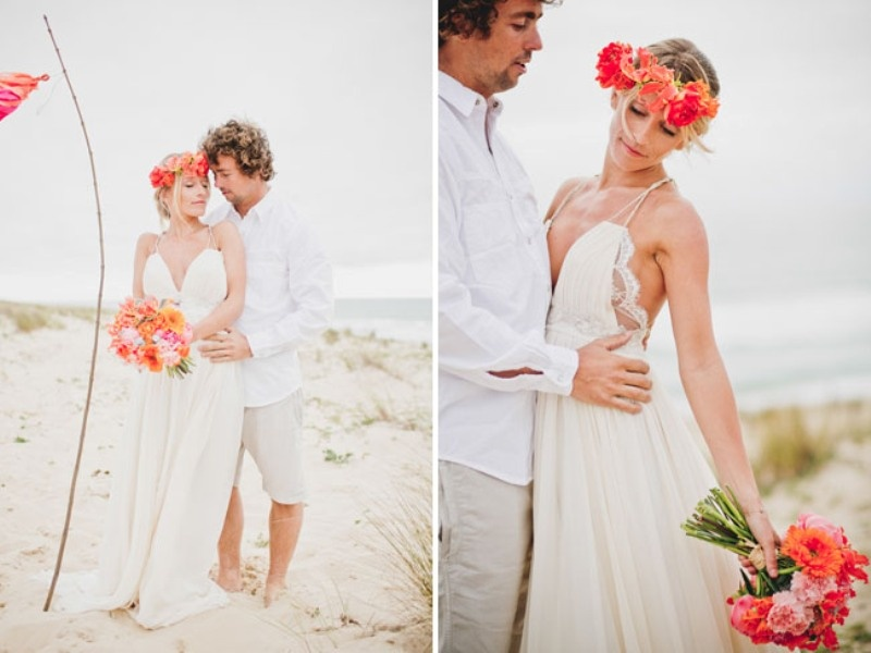 Picture Of Bright And Fancy Surf Inspired Beach Wedding Photoshoot
