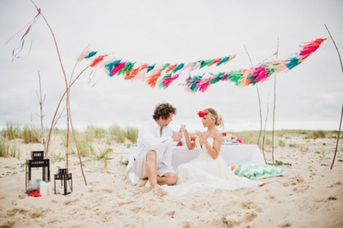 Bright And Fancy Surf Inspired Beach Wedding Photoshoot