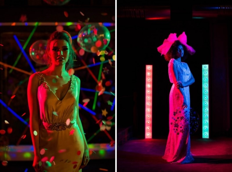 Picture Of bright and fun 70s disco inspired wedding with an industrial feel  3