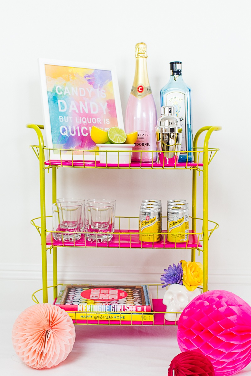 Picture Of bright and fun diy bar cart for your wedding  1