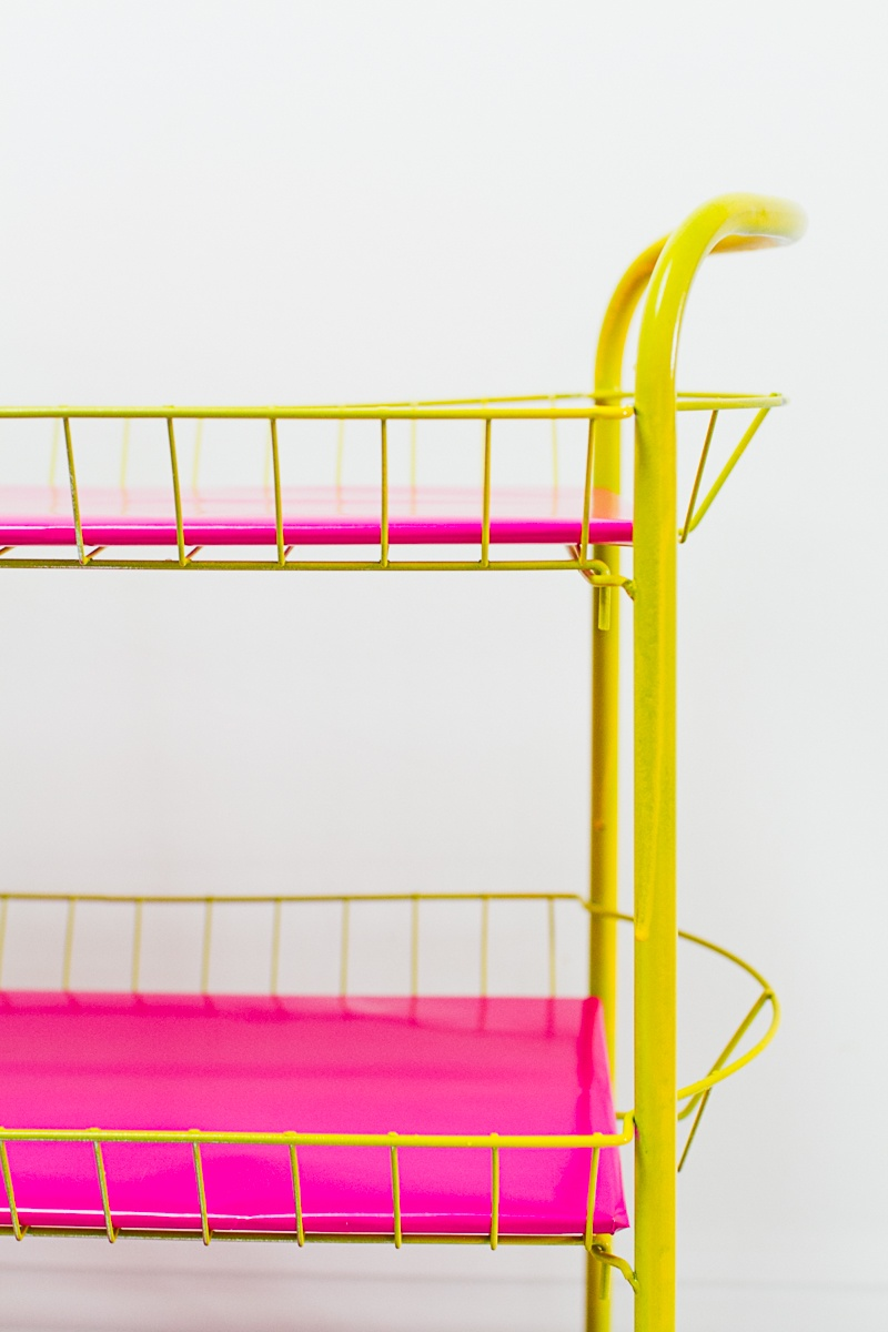 Picture Of bright and fun diy bar cart for your wedding  2