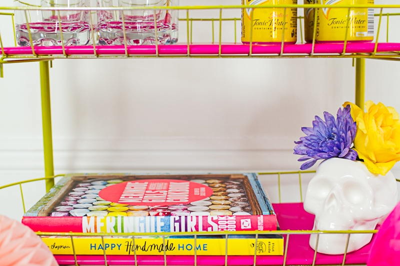 Picture Of bright and fun diy bar cart for your wedding  3