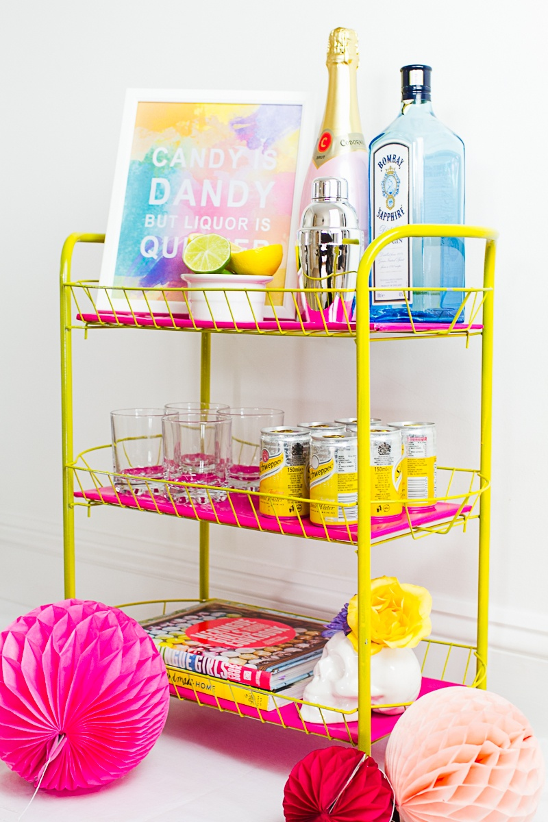 Picture Of bright and fun diy bar cart for your wedding  4