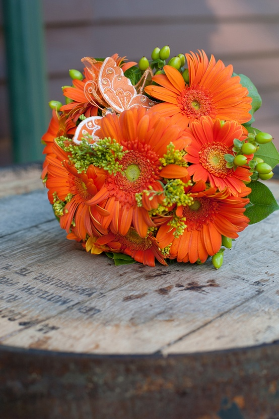Picture Of Bright Orange Bridal Bouquets