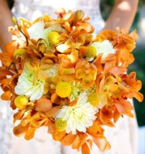 Bright orange bridal bouquets weddingomania