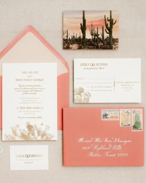 a coral wedding invitation suite with a cactus card is a nice and bold idea for a bright summer wedding