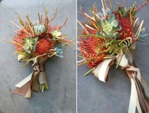 a creative wedding bouquet of pincushion proteas and succulents is bright and cool and looks outstanding