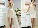 a crochet lace mini dress with straps and a sheer overskirt for a playful and cool bridal look