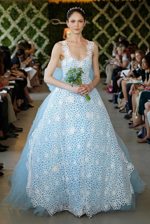 a blue tulle wedding ballgown with a lovely crochet overdress and thick straps is a creative and unusual idea for your wedding