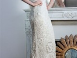 a fitting crochet lace wedding dress with embellishments, thick straps and a V-neckline is a very cool and fresh idea
