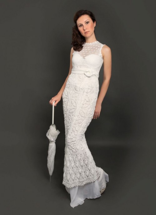 a vintage sleeveless crochet maxi wedding dress with embellishments is a pretty idea for a vintage-loving bride
