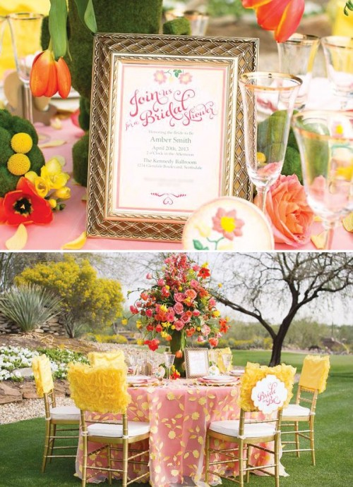 a whimsical garden bridal shower tablescape with a pink tablecloth and yellow petals, a bold yellow and pink floral arrangement and chairs with yellow tuffle covers