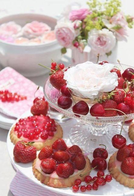 fresh berries and berry tarts are adorable for rocking at a garden bridal shower, these are perfect sweets