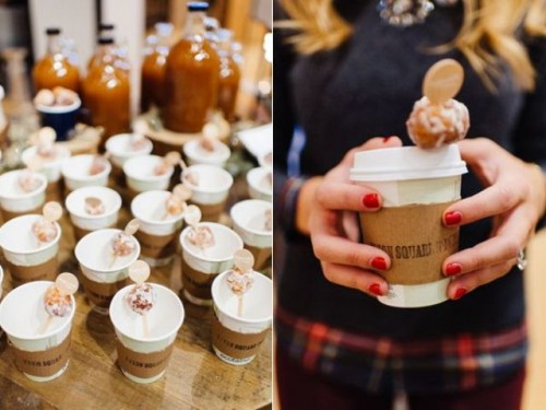 offer stirrers with little donuts on top, this is a great idea to cozy up any drink, cold or hot