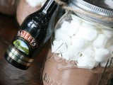 offer little jars with hot cocoa mix and mini Bailey's bottles as winter bridal shower favors