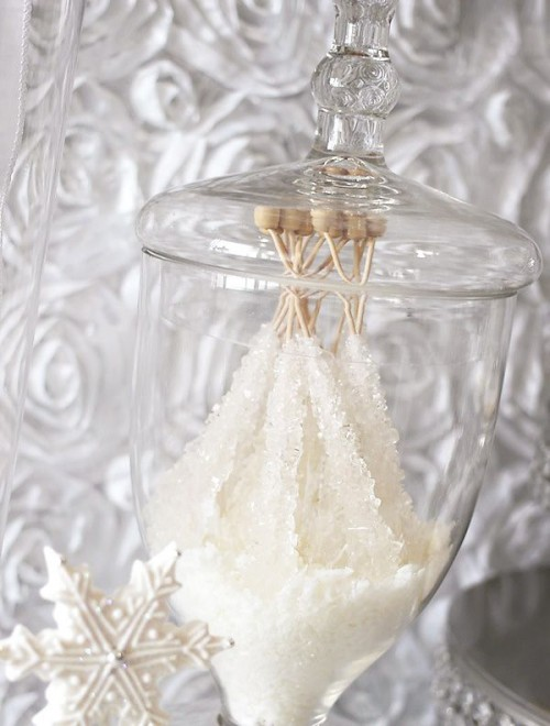 white sugar rock candies look like frozen ones, which makes them perfect for a winter bridal shower