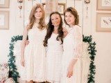 all the gals wearign white lace dresses and nude shoes for a classic and chic winter shower look
