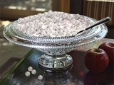 a creative winter bridal shower centerpiece of a glass bowl with glass beads is very easy to recreate