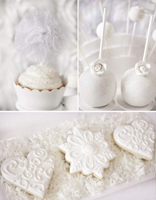 sparkling white cookies, cupcakes and pops are amazing for your winter bridal shower dessert table