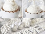 cupcakes with icing and small snowflakes on them will scream winter and an all-white candy table is also great for a winter bridal shower