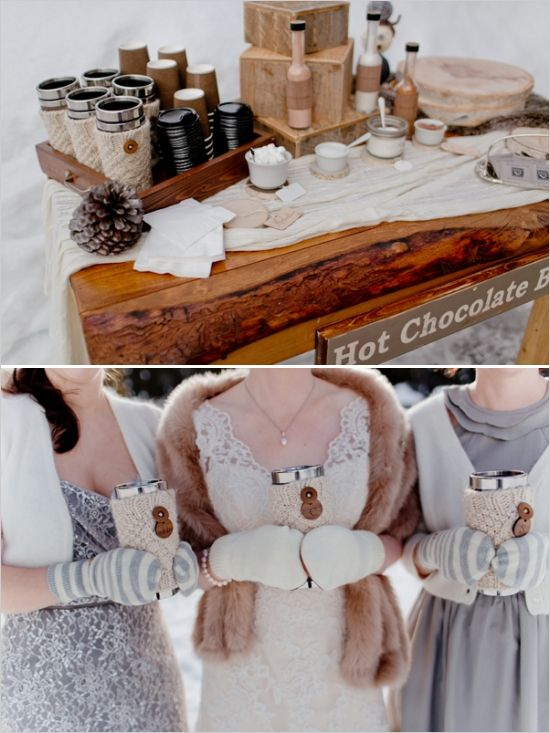 a rustic hot chocolate bar with pinecones, all kinds of syrups and toppings and mugs in knit cozies