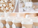 give your sweet table a winter feel with star and snowflake cookies, with bells on the table and accents on cups