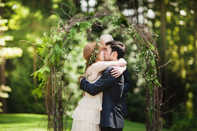 Picture Of charming woodland wedding arches and altars  15
