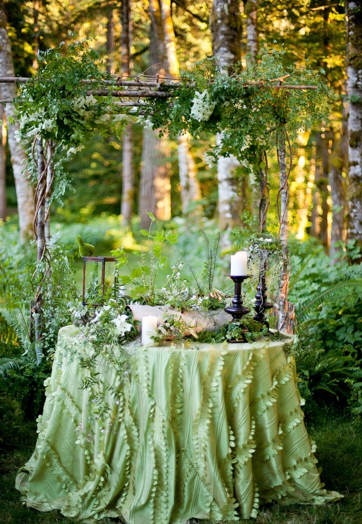 Picture Of charming woodland wedding arches and altars  4