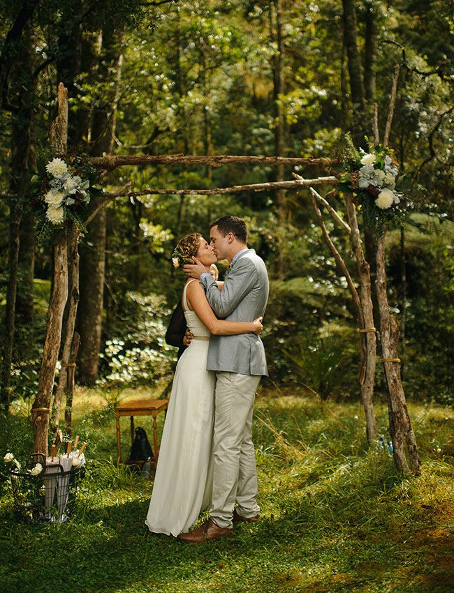 Picture Of charming woodland wedding arches and altars  8