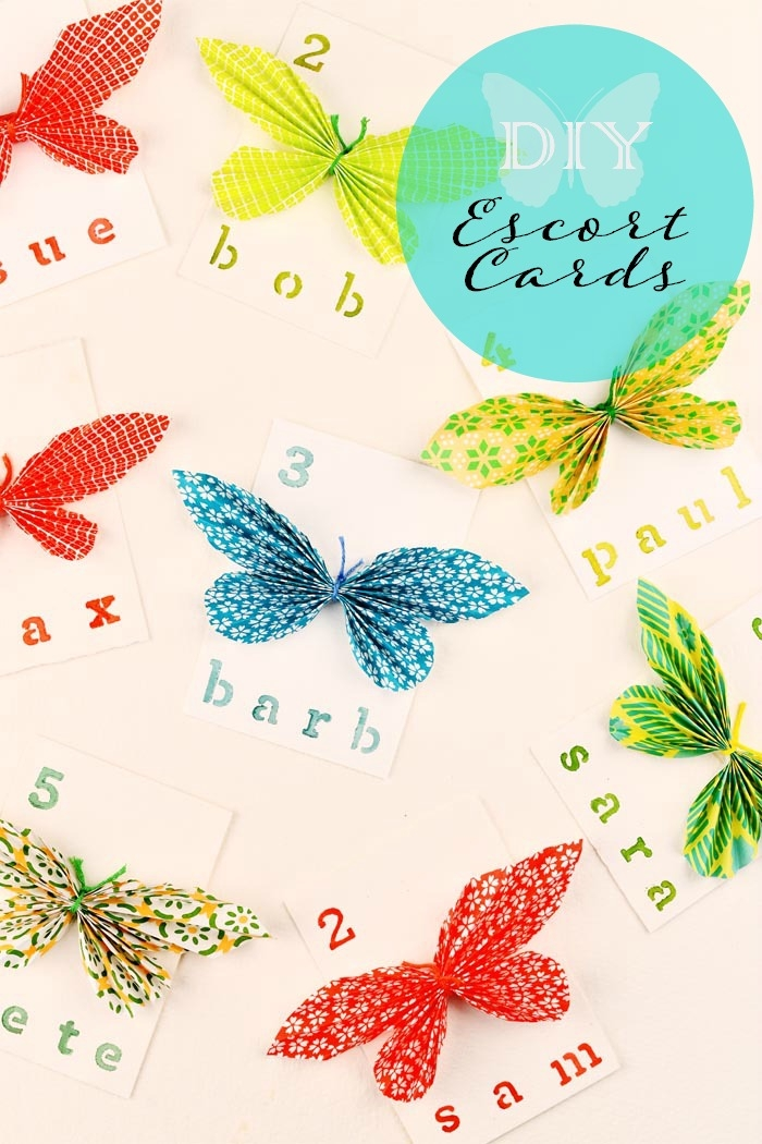 Picture Of cheerful and bright diy paper butterfly escort cards  1