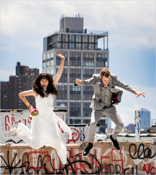 Cheerful And Inexpensive Rooftop Wedding