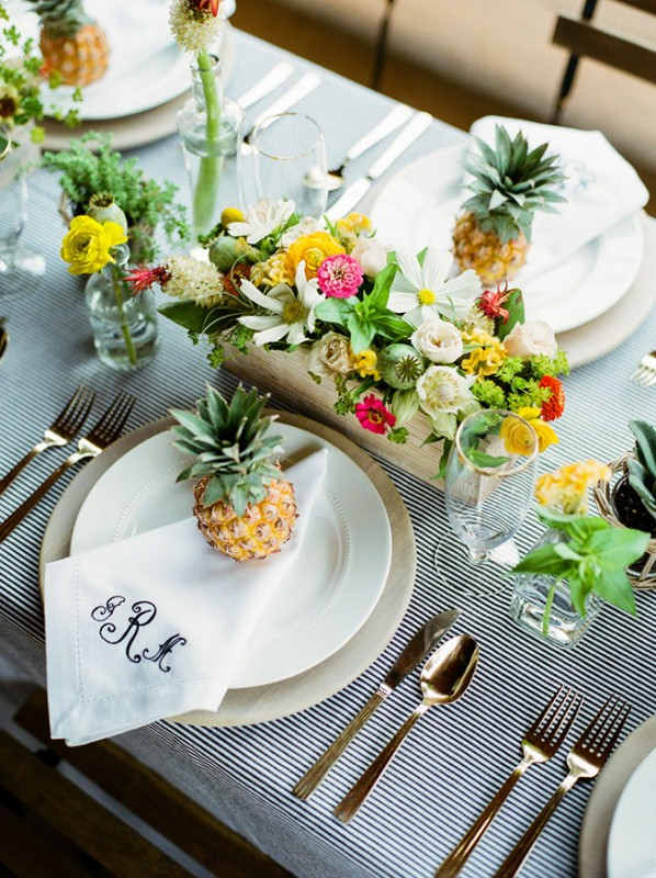 Picture Of cheerful kate spade inspired wedding shoot with pineapples decor  12