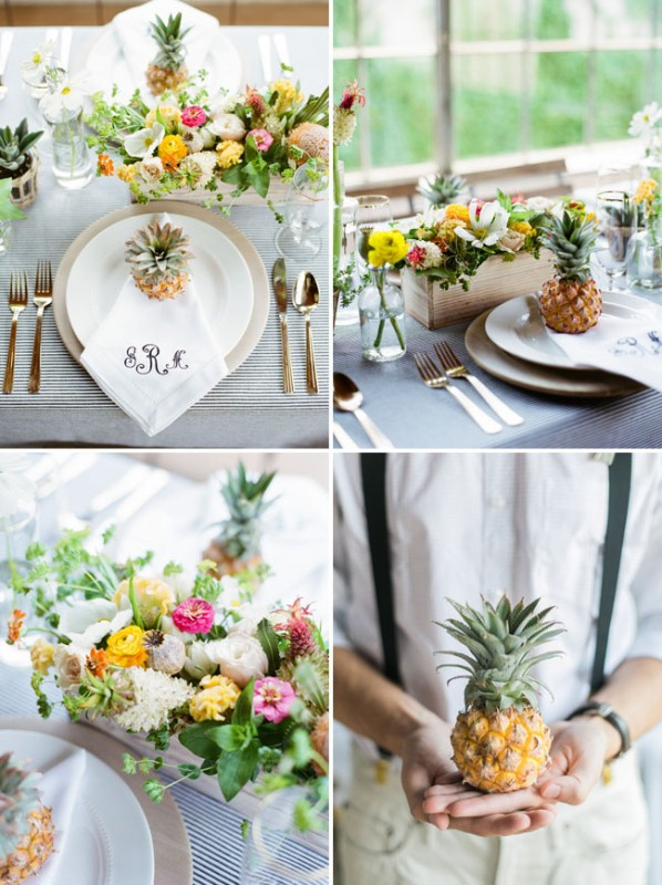 Picture Of cheerful kate spade inspired wedding shoot with pineapples decor  13