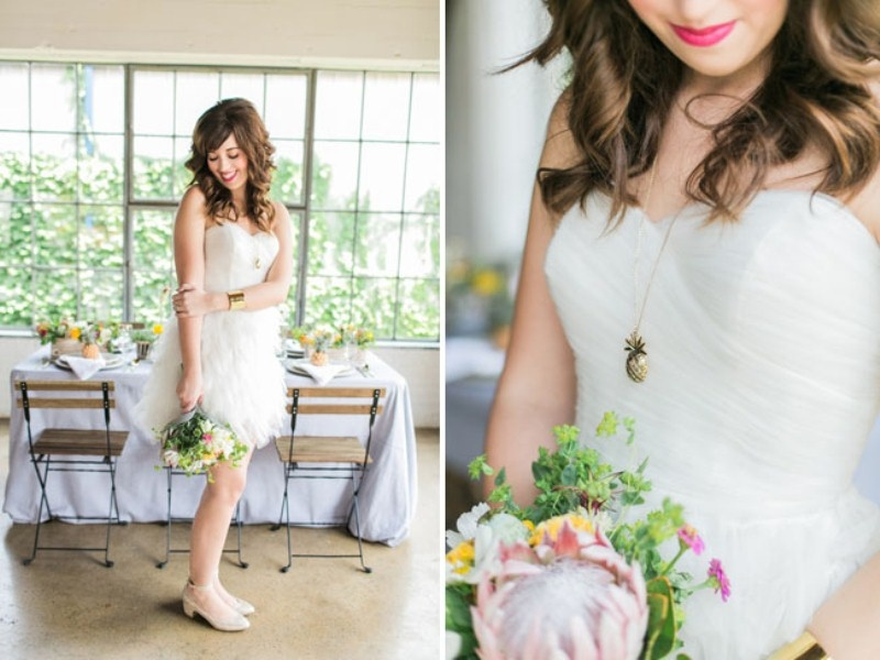 Picture Of cheerful kate spade inspired wedding shoot with pineapples decor  15