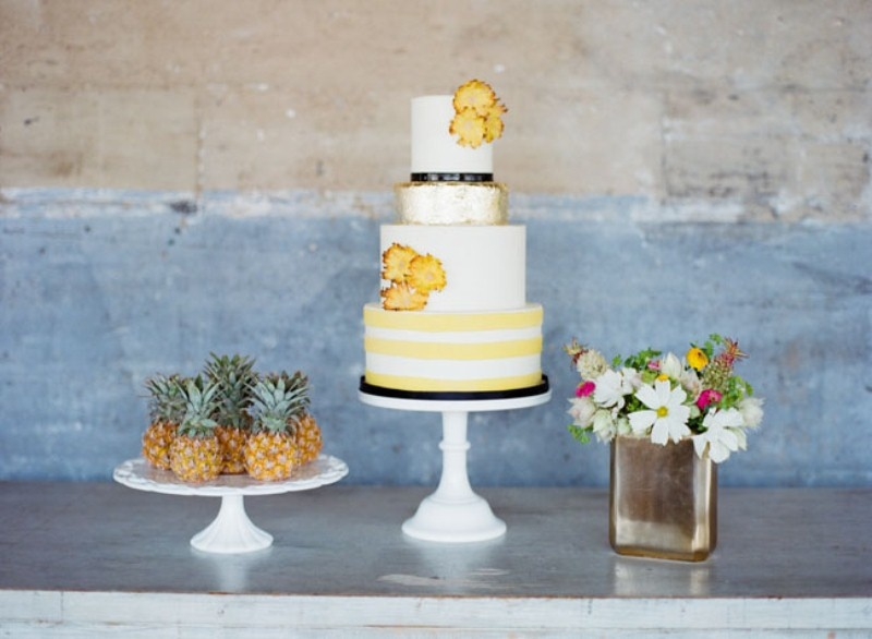 Picture Of cheerful kate spade inspired wedding shoot with pineapples decor  17