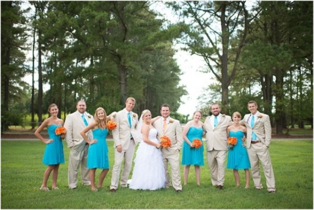 Cheerful Orange And Teal Summer Wedding