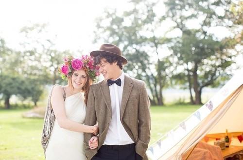 Cheerful Woodland Boho Chic Wedding In Norfolk