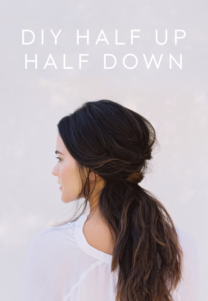 Picture Of chic and messy diy half up half down wedding hairstyle  1