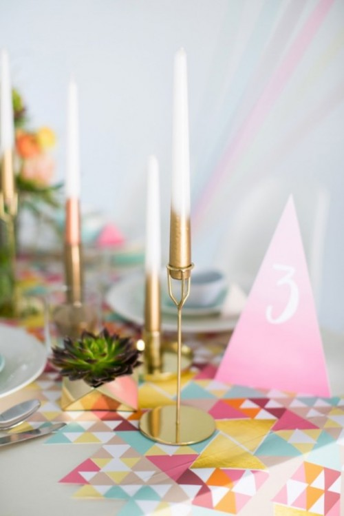 Chic And Modern DIY Metallic Ombre Candles