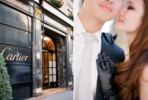 Chic Paris Engagement Shoot With Two Vera Wang Wedding Dresses