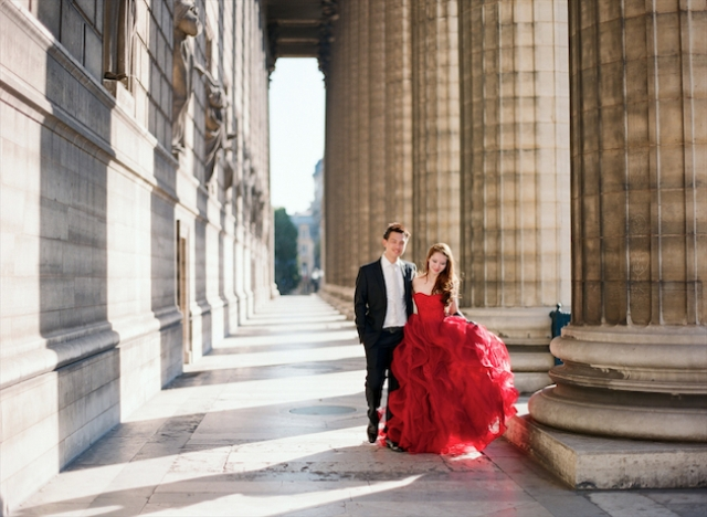 Picture Of Chic Paris Engagement Shoot With Two Vera Wang
